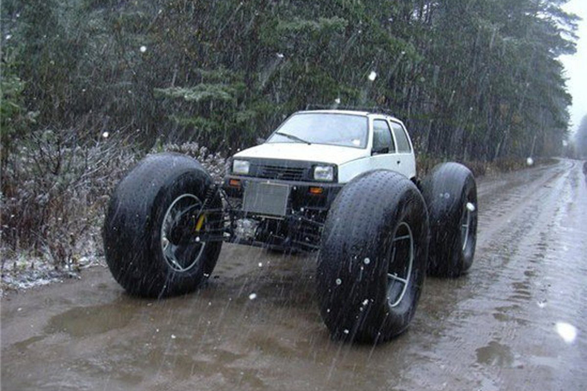 11 Normal Cars With Ridiculously Massive Wheels 10