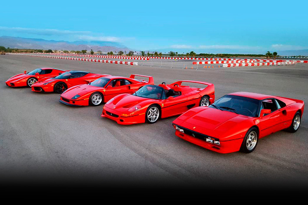 video ferrari 39 s big 5 288 gto vs f40 vs f50 vs enzo vs laferrari. Black Bedroom Furniture Sets. Home Design Ideas