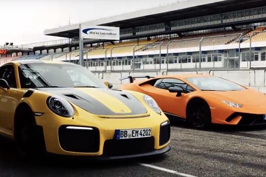 Lamborghini, Porsche, Porsche Videos, Lamborghini Videos, Video, Lamborghini Huracan Performance, Porsche 911 GT2 RS, Cars, Automotive,SXdrv,