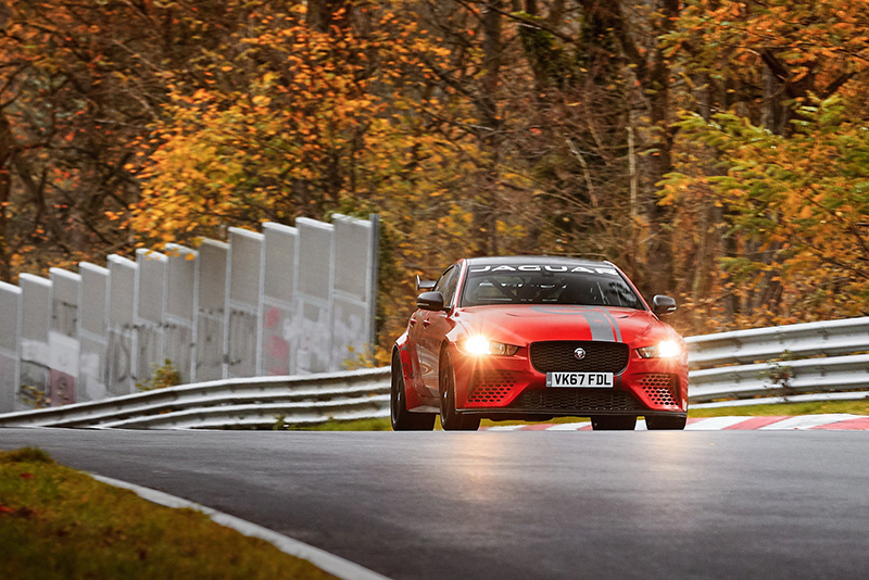 record,sxdrv,fastest in class,carbon fibre racing bucket seats,Track Pack,carbon ceramic brakes,200mph top speed,0-62mph in 3.3 seconds,four-wheel drive,eight-speed ZF gearbox,592bhp 5.0-litre supercharged V8,Alfa Romeo Giulia Quadrifoglio,7m 21.23s,Nürburgring Nordschleife,fastest production four-door saloon,Jaguar XE SV Project 8,