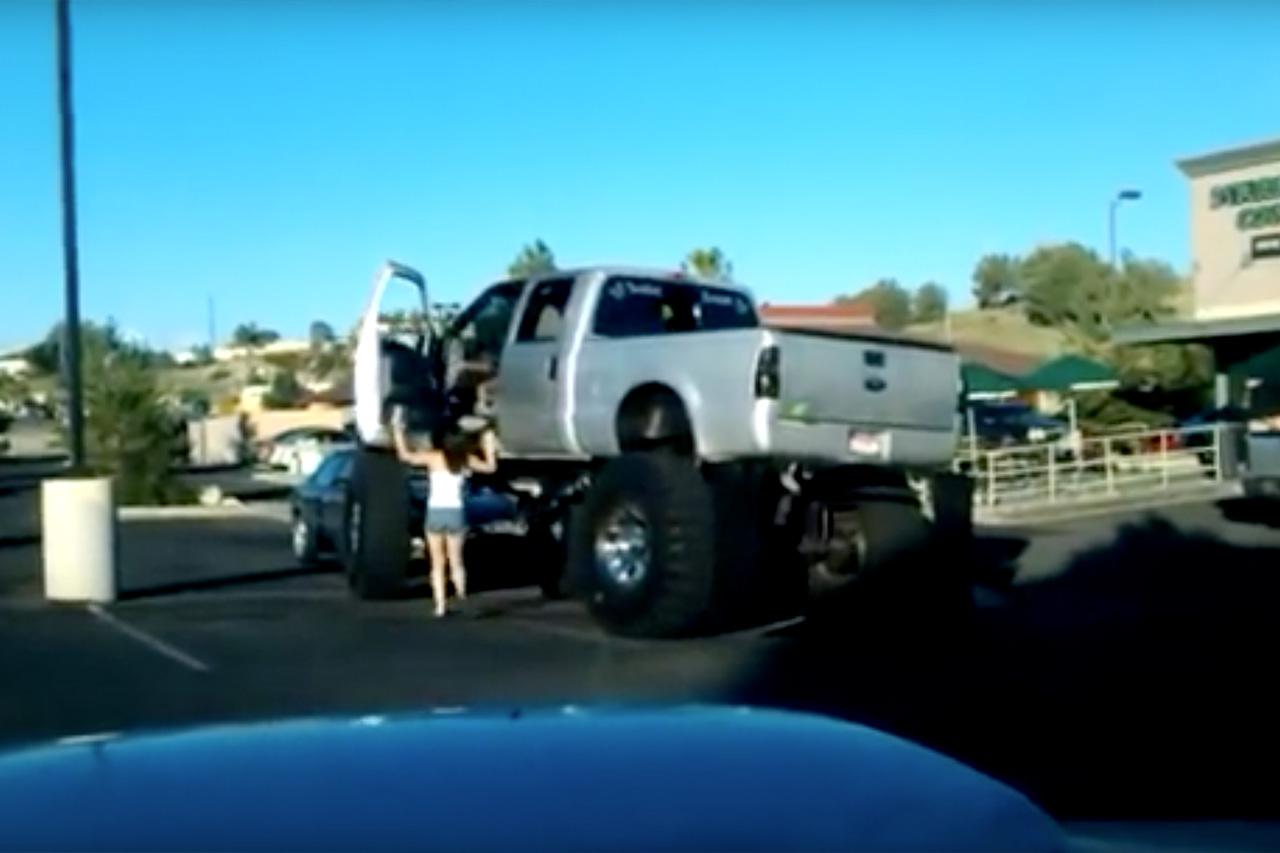 Hot Girl Climbs Up Into Her Monster Truck 1
