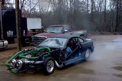 Video: The Cumstang, Filled With Glorious Twin Turbo Pollution Power.