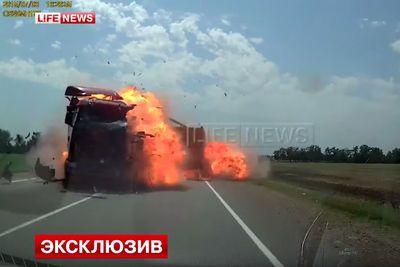 Video: Truck Driver Falls Asleep At The Wheel. Causes Huge Head-on Fireball Crash!
