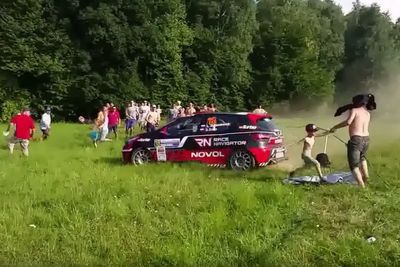 Video: Rally Car Loses Control And Narrowly Misses Huge Crowd Of Spectators!