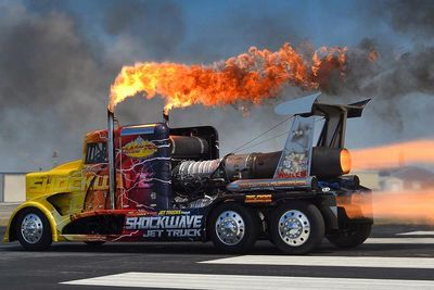 Video: The Infamous Shockwave Jet Truck Tears Up Summit Motorsports Park!