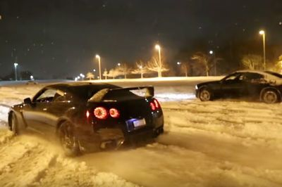 Video: A Nissan Gtr + Lots Of Snow + Huge Flames = Massive Fun!