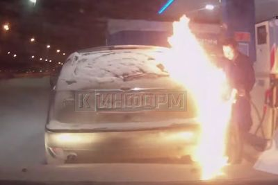 Video: Lady Sets Her Car On Fire While Pumping Gas!