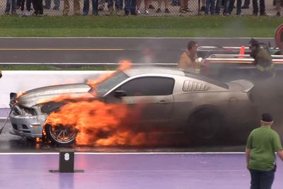 Video: Nitrous Mustang Goes Up In Flames At Tx2k16!