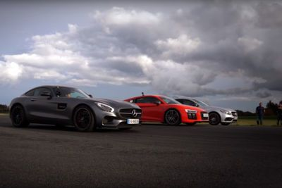 Video: Drag Race  - R8 V10 Plus / Amg Gt S / C 63 S Amg. Who Wins?