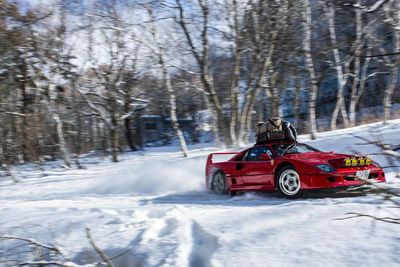 Video: Ferrari F40 Goes Snow Rallying With Chained Tyres And Camping Gear.