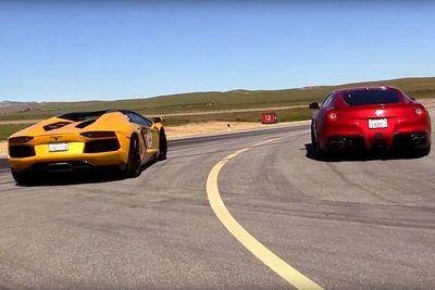 Video: Watch A Ferrari F12 And Lamborghini Aventador Roadster Hit The Drag Strip