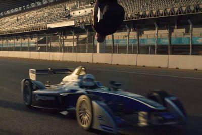 Video: Hollywood stuntman Damien Walters backflips over a Formula E car speeding toward him at 100kph!
