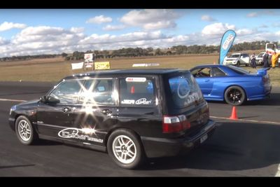 Video: Nitrous Filled Subaru Forester Lines Up Against A Nissan Skyline R34 Gt-r. Who Wins?