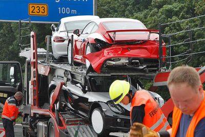 7 Porsche Cayman Gt4's Damaged In German Autobahn Crash.