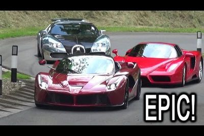 Video: Laferrari, Bugatti Veyron, Ferrari Enzo, Lamborghini Diablo And Other Supercars At The Prescott Hill Climb.