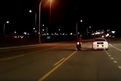 Video: Mustang Driver Rams Biker Off This Bike During Road Rage, Sparks Fly, Literally!