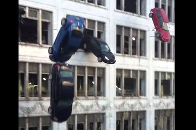 Video: Fans Film Cars Falling Falling Out The Side Of A Building And Exploding On Impact On The Set Of The New 'fast & Furious 8' Movie!