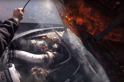 Video: 1500hp Supra Slides Across Finish Line On Fire!