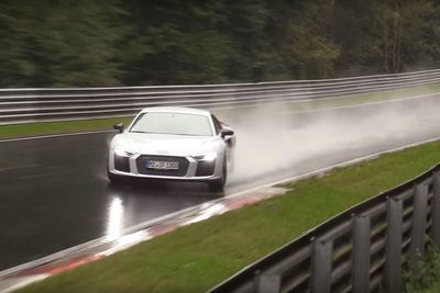 Video: This Brand New Audi R8 Slides And Almost Crashes Very Hard In The Wet!