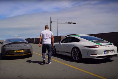 Video: Video: Chris Harris Compares Two Beautiful Cars, The Aston Martin V12 Vantage S And Porsche 911 R, Hangs Them Both Out Sideways Like A Legend!