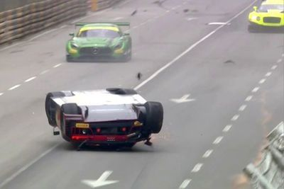 Video: Audi R8 Racer Laurens Vanthoor Clips The Curb In A Spectacular 155mph Crash, Slides Down The Main Straight On His Roof And Wins The Macau Grand Prix Gt World Cup!