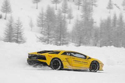 Video: 700hp Lamborghini Aventadors Ploughing Around In The Snow Covered Alps!