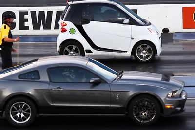 Sleeper Smart Car Vs. Mustang? Most Incredible Drag Race Compilation