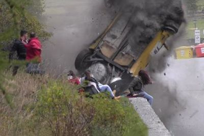 Watch This Rally Car Come Inches From Spectators In Crash