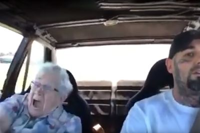 Taking Grandma For A Quick Hit In A Race Car, Reaction Is Priceless!