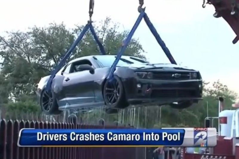 Video: Idiot Teen Driver Crashes New Camaro Zl1 Into A Pool! 1