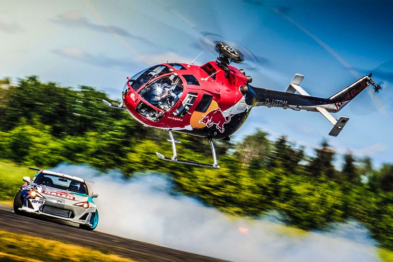 RedBull Helicopter Chases Drift Car 1
