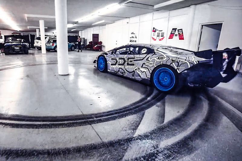 Drifting A Supercharged Lamborghini Indoors! 1
