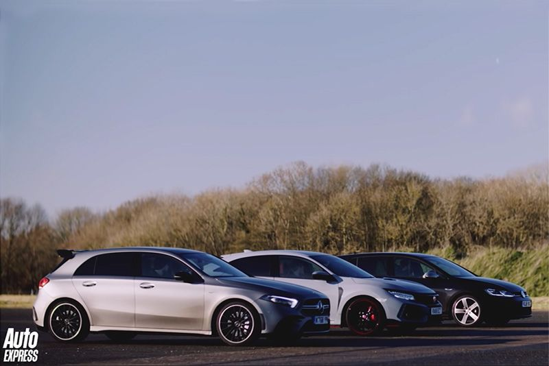 Drag: Mercedes-AMG A 35 vs Honda Civic Type R vs Volkswagen Golf R 1